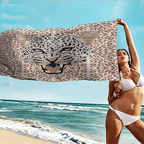 (Antonia Reed Printed Bath Towel Modern,Roaring Leopard Portrait with Rosettes Wild African Animal Big Cat Graphic,Cocoa Beige Black,Suitable for Home,Travel,Swimming Use 28