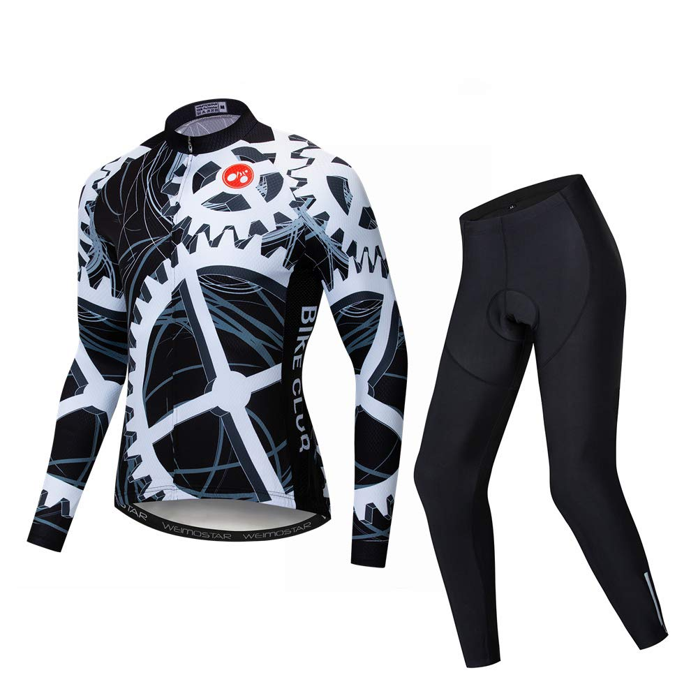 White Gear XL(Ht6971\ Men's Cycling Long Sleeve Breathable Jersey Set 3D Padded Long Pants Bike Shirt Bicycle Tights Clothing