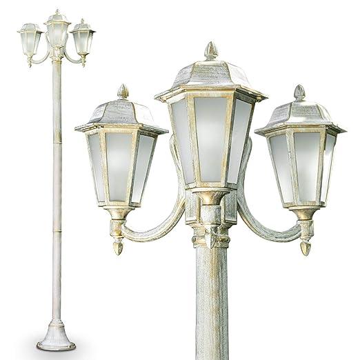 Lampione da Esterno Tre Luci Design Classico- Lampione Color Bianco ...