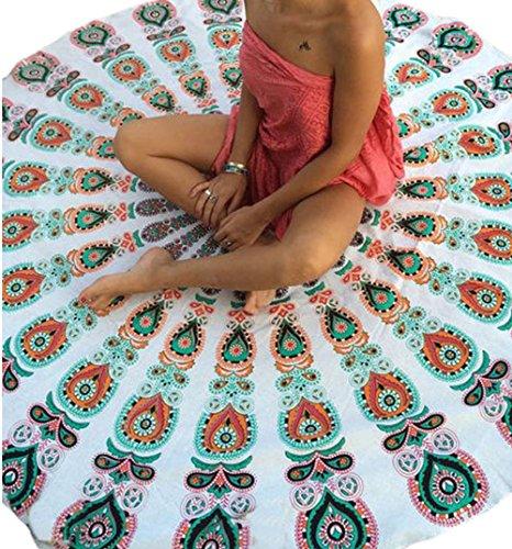 YeeATZ Peacock Print White Boho Beach Blanket(White,One Size) price tips cheap