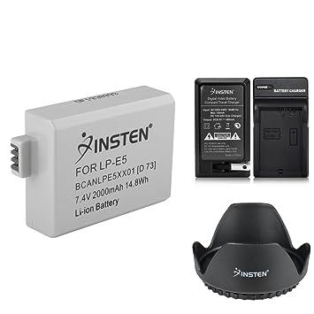 Amazon.com: Insten 2 Batería + Cargador + Parasol LP-E5 ...