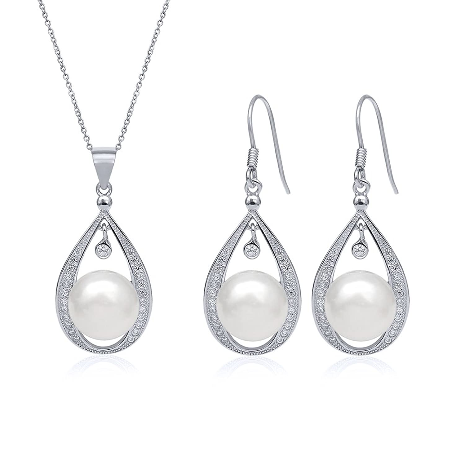 10.5mm Cultured Freshwater Pearl Sterling Silver Pendant Earrings Set With Chain