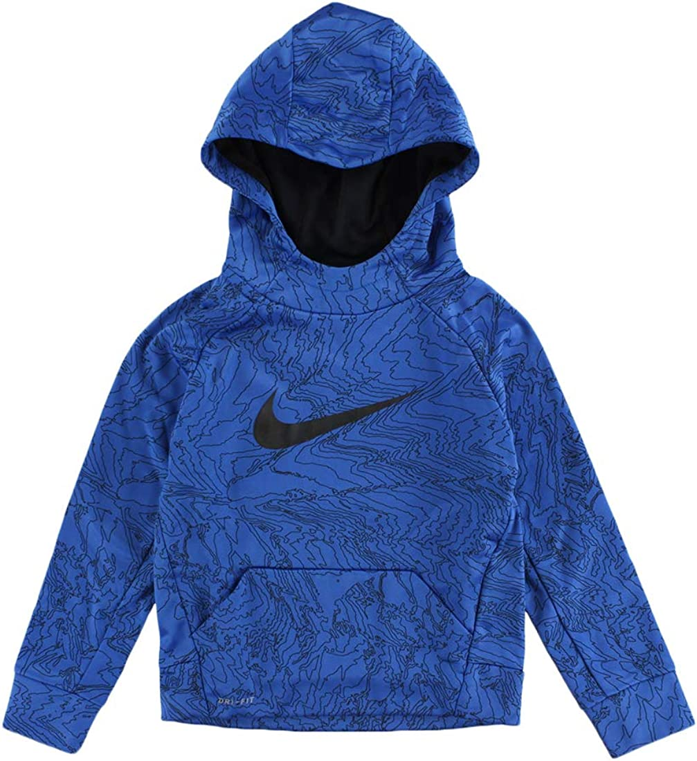NIKE Therma Boys Printed Training Fleece Hoodie Pullover Volt Size 4