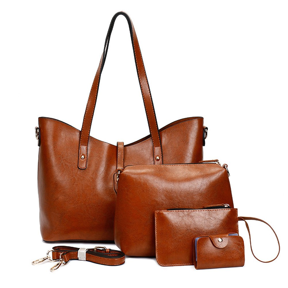 Leather Tote Bag for Women Purses Set Large Brown Shoulder Bags 4pcs Top Handle Satchel Handbags (Brown-2)