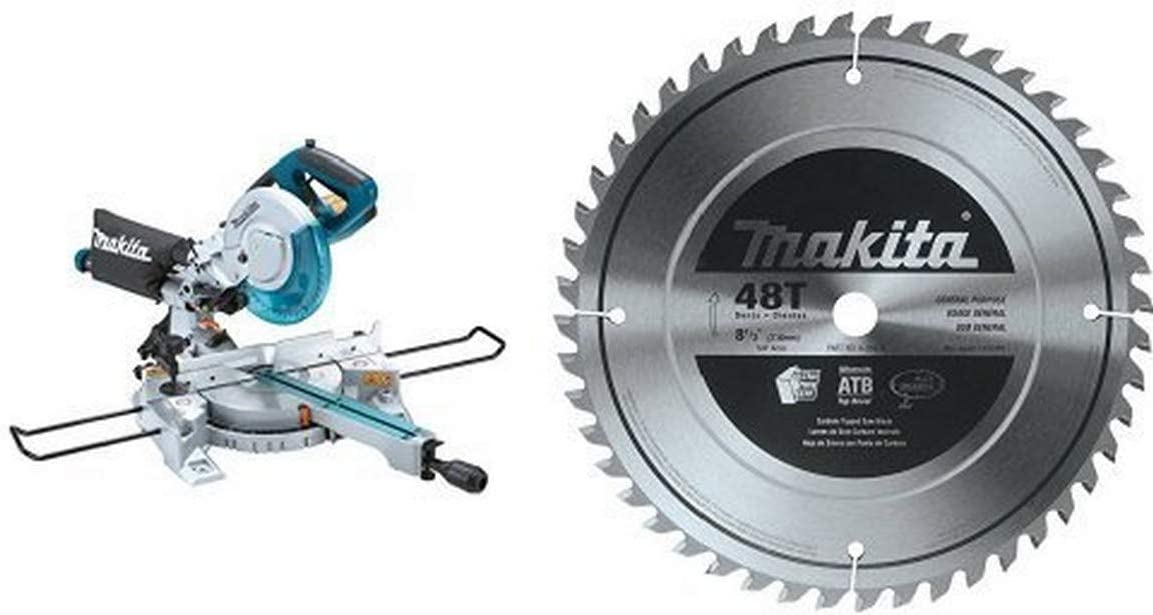 """Makita LS0815F 8-1/2"""" Slide Compound Miter Saw with free Makita A-95934 8-1/2-Inch 48T Carbide-Tipped Miter Saw Blade"""