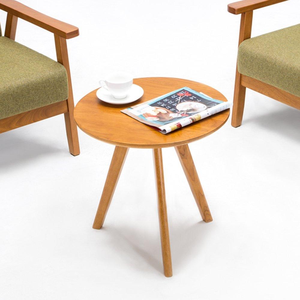 Krei Hejmo Solid Wood Coffee Tea Sofa Side Table (101-Round, Vintage Brown)