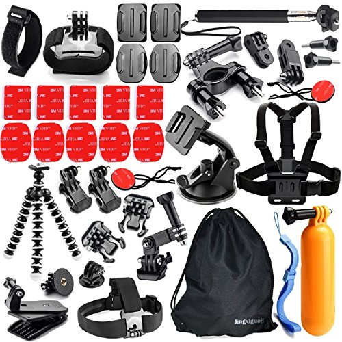 GoPro Accessories Kit for GoPro Hero 5 Black, 4 3+ 3 2 1, JingXiGuoJi GoPro Session Accessories Bundle with Chest Mount Harness, Head Strap (42-Items) 0.75' Mount