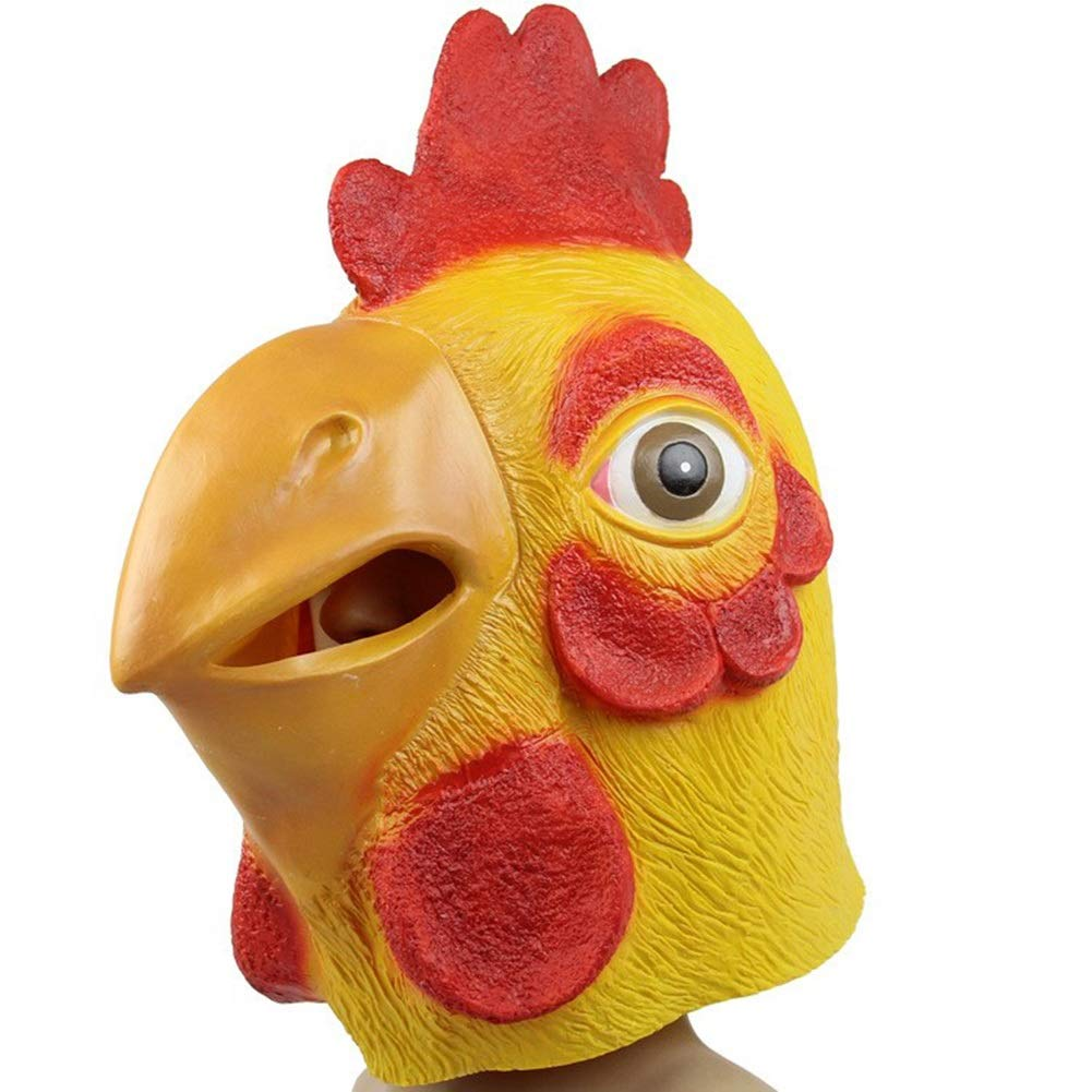 Environmentally Friendly Latex Chicken Head Cover Masquerade Animal Show Decoration Animal Mask Big Cock Mask by LSGNB