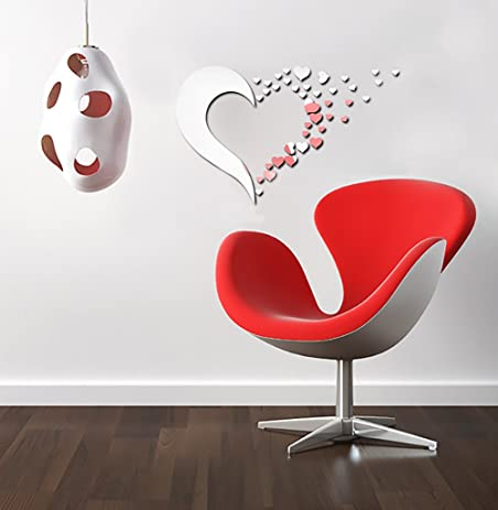 Mirror Wall Stickers   Heart Shaped Wall Mirror Decor   Silver Heart Wall  Decals, Peel