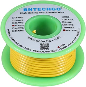 BNTECHGO 24 AWG 1007 Electric Wire 24 Gauge PVC 1007 Wire Stranded Wire Hook Up Wire 300V Stranded Tinned Copper Wire Black 100 ft Per Reel for DIY