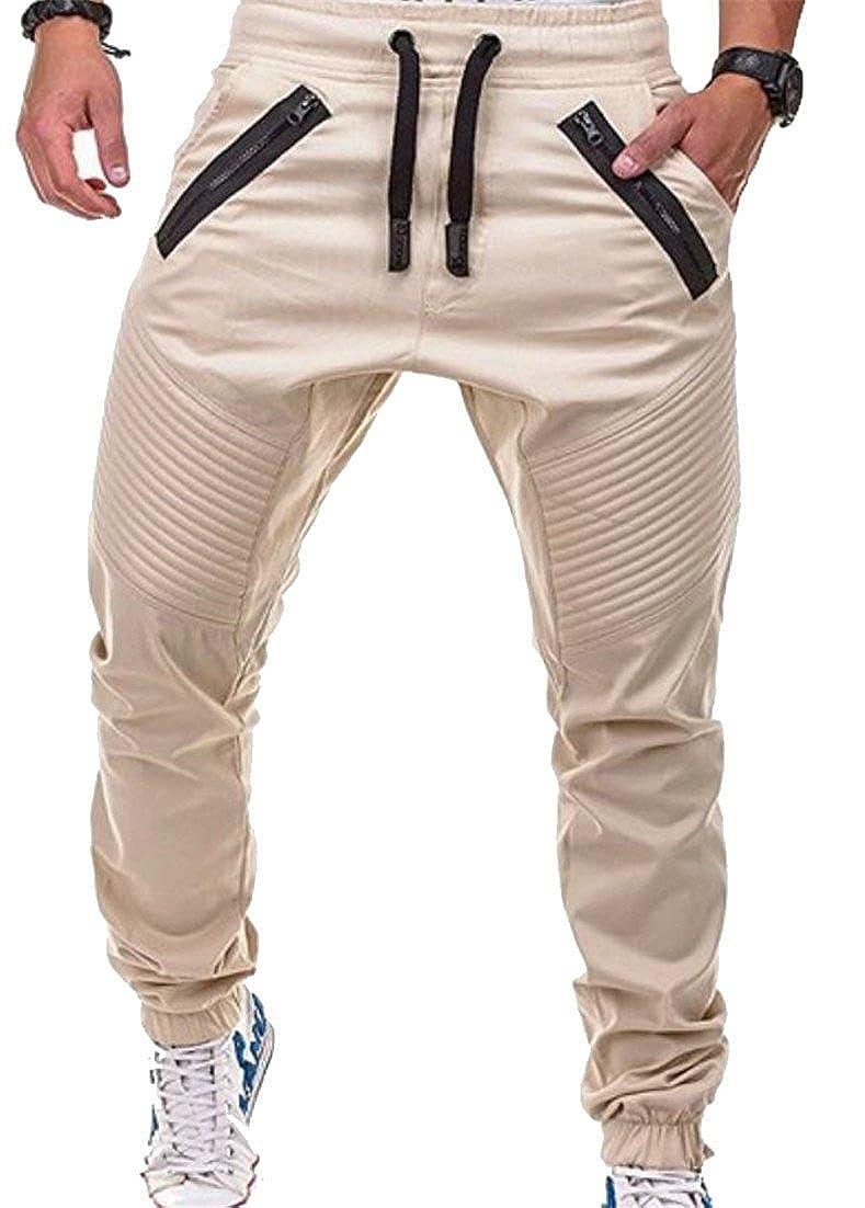 Wofupowga Men Casual Sports Splice Zipper Pleats Striped Elastic Waist Trousers Pants