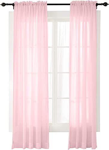 ChadMade Indoor Outdoor Solid Sheer Curtain Rod Pocket with 1 Header Pink 200 W X 102 L Wide Opulent Voile Drapes 1 Panel
