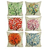 Luxbon Set of 6Pcs Colorful Spring Life Tree Decorative Cushion Cover 45cmx45cm Durable Cotton Linen Shabby Chic Pillow Case 18'X18' Throw Pillow Covers Home Decors