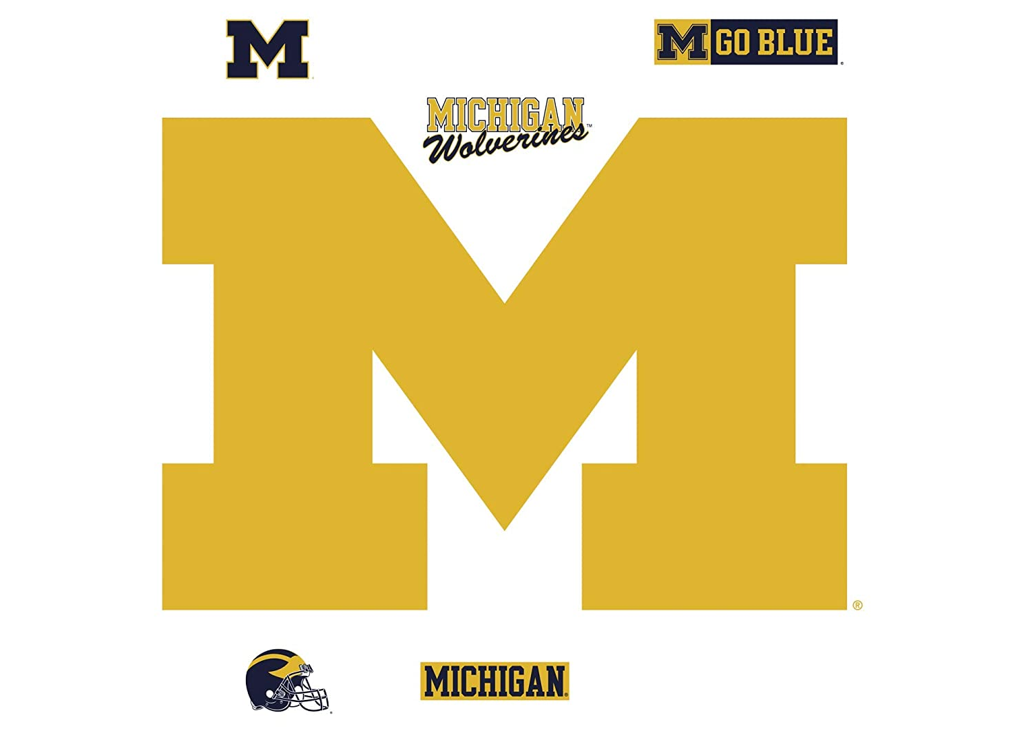 Multicolor Officially Licensed Removable Wall Decal NCAA Michigan Wolverines