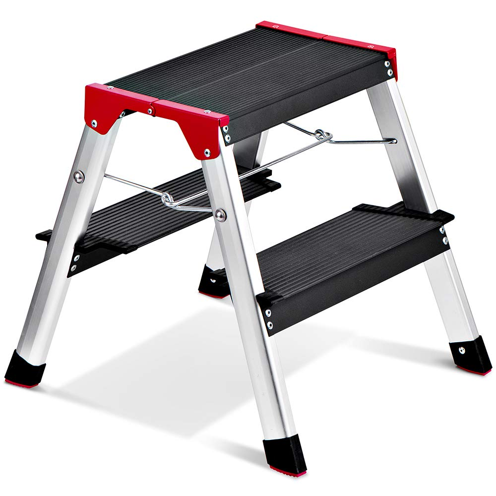 Delxo Lightweight Aluminum 2 Step Ladder RV Ladder Step Stool Folding Step Ladder with Anti-Slip Sturdy and Wide Pedal Ladder for Photography,Household and Painting 330lbs Capacity Black by Delxo