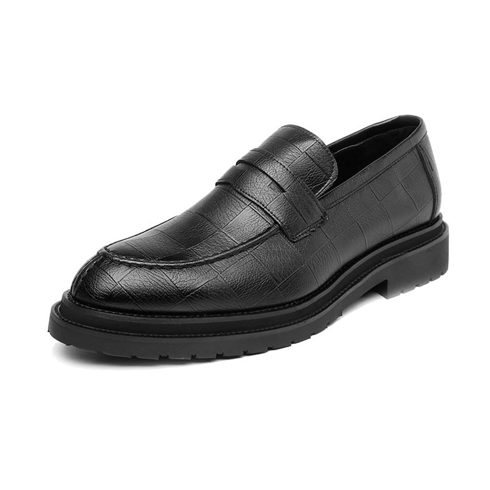 XHD-Schuhe Geschäft PU-Leder der Einfachen Männer Beleg-auf Beschuht Klassische Beleg-auf Männer Müßiggänger-Quadratische Beschaffenheit Outsole Oxfords (Farbe   Schwarz, Größe   CN25) 86b389