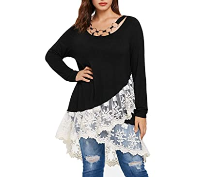 0bad42ed7950c8 Plus Size 5XL-L White Floral Lace Black Long Tops Women Long Sleeve Autumn  Spring Tunic Blouses Ladies Big Size at Amazon Women s Clothing store