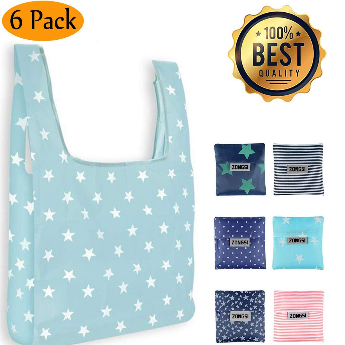 Zongsi 6 Pack Eco Friendly Large Reusable Grocery Bags Waterproof Nylon Shopping Bag fits in Pocket
