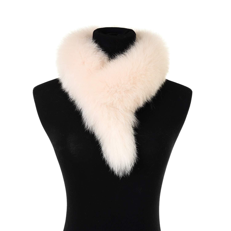 Ferand Ladies Elegant Real Fox Fur Collar Scarf Wrap for Women, Beige