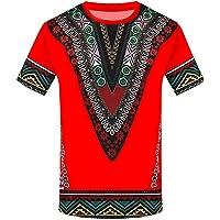 MODOQO Mens Dashiki African Shirt Fashion Printed Short Sleeve Slim Fit Top Blouse