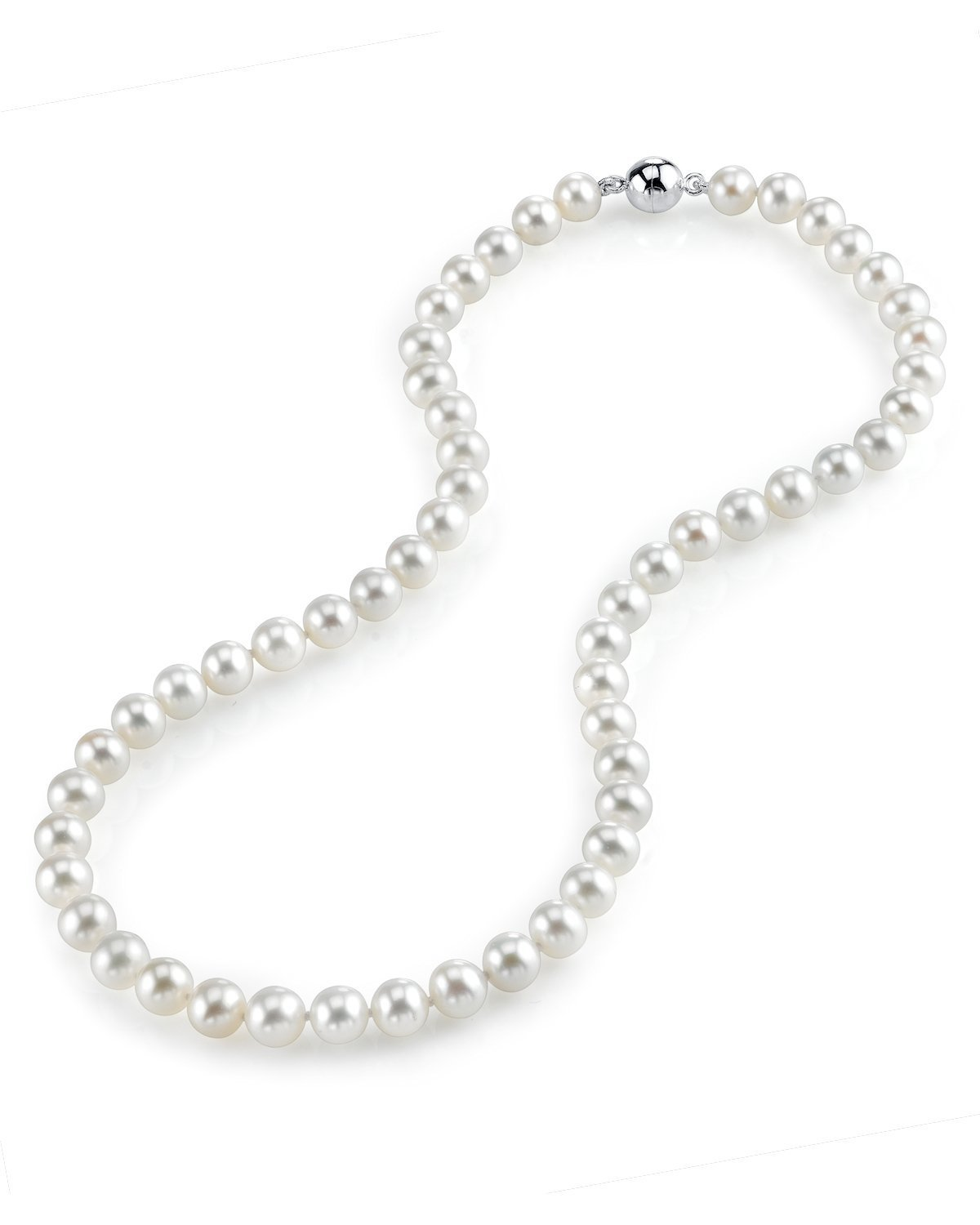 THE PEARL SOURCE 7-8mm AAA Quality Round White Freshwater Cultured Pearl Necklace for Women with Magnetic Clasp in 20'' Matinee Length