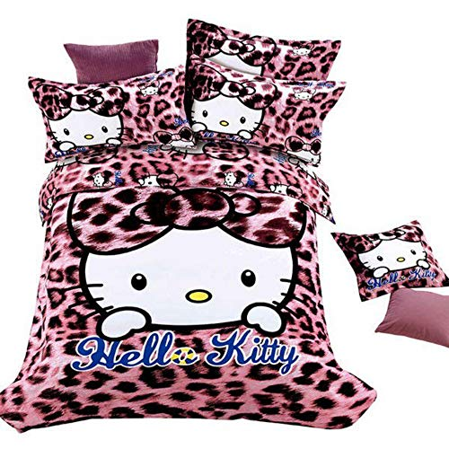 Pink Leopard Print Hello Kitty Bedding Set