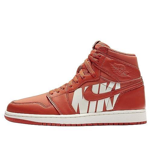 Zapatos Hombre Zapatillas Air Jordan 1 Retro High OG en Cuero Naranja 555088-800: Amazon.es: Zapatos y complementos