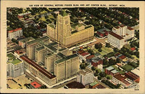 Air View of General Motors Fisher Bldg. and Art Center Bldg Detroit, Michigan Original Vintage Postcard