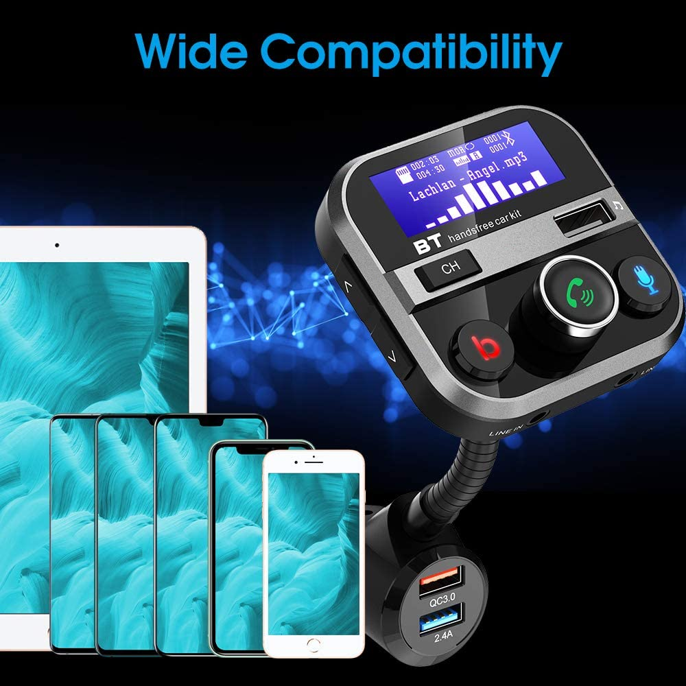 Doosl Car Charger Adapter 3 Port- 1.7 Screen Bluetooth FM Transmitter for Car 4 Music Modes Quick Charge 3.0 Car Charger Support USB Drive//Micro SD//AUX//Bass Boost//Hands-Free Call
