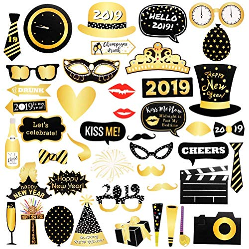 LUCKKYY 46PCS2019 New Year's Photo Booth Props DIY