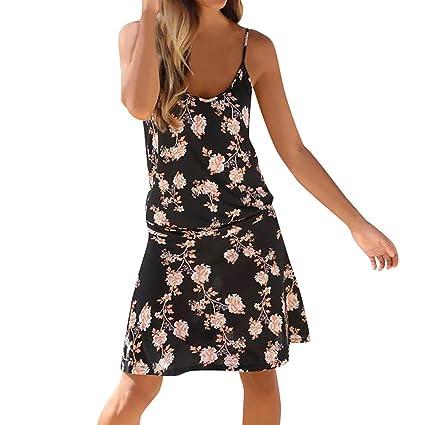 wave166 Vestido,Vestido de Fiesta Noche Corto para Mujer Escote en V ...