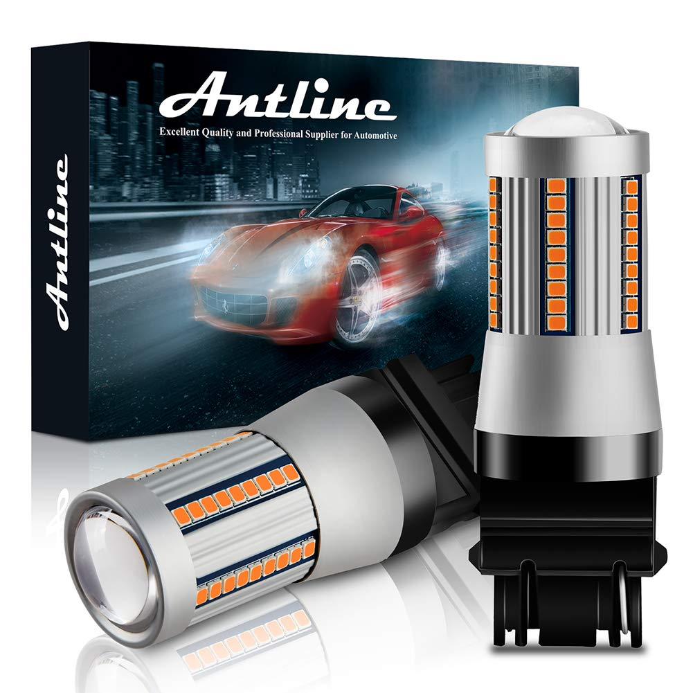 ANTLINE 7440 7444 T20 7440A 7440NA LED Bulbs Amber Yellow for Turn Signal Lights with Build-in Load Resistor CANBUS Error Free Anti Hyper Flash for Blinker Bulb Replacement Pack of 2