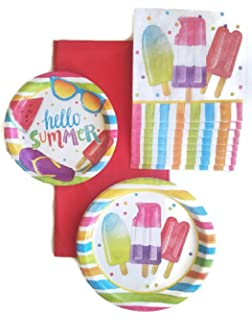 amazon com summertime paper plates and napkins pool party themed