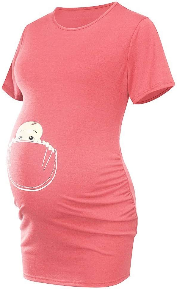 Iusun Womens Maternity Tops Baby in Pocket Print Short Sleeve Plus Size T-Shirt Mom Comfy Nursing Breastfeeding Pregnants Summer Blouse Cloth