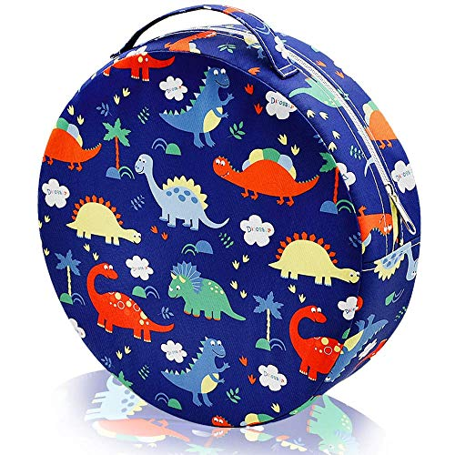 Toddler Chair Increasing Cushion, Soft Cloth & Silicone Anti-Slip Toddler Booster Seat Dining for Babys' Seat-High Chair Dismountable Round Cushion Washable with Handle Band(Blue Dinosaur)