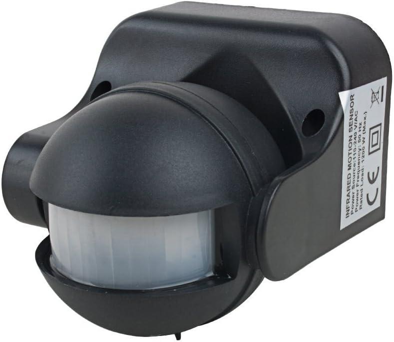 Sensor de movimiento detector de AC 110 V-240 V al aire libre cuerpo humano por infrarrojos Detector de seguridad automática LED PIR sensor de movimiento interruptor negro: Amazon.es: Iluminación