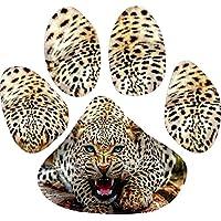 StickerTalk Leopard Paw Print Vinyl Sticker, 4.5 inches by 5 inches