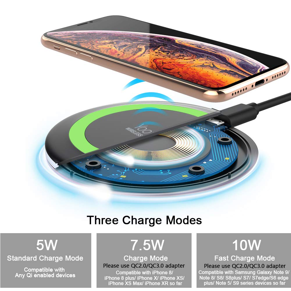 Yootech Wireless Charger Qi-Certified 7 5W Wireless Charging Compatible  with iPhone Xs MAX/XR/XS/X/8/8 Plus,10W Compatible with Galaxy Note 9/S9/S9