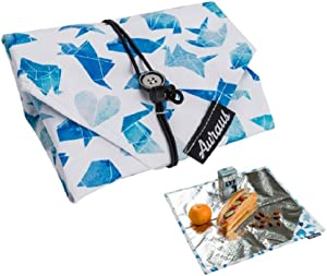 Insulated Reusable Food Wrap For Sandwich & Snack Bags & Placemat for Lunch, Eco Friendly Food Wraps, BPA-Free, Foodsaver, Bento Camping Picnic Hot & Cold Pouch (Animal Blue)