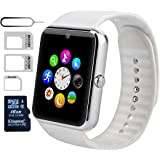 eMARS Smart Watch Bluetooth with 16 GB SD Card and Sim Card Slot for Android Samsung S5/S6 Note 4/5 HTC/Sony/LG and iPhone 5/5S/6/6 Plus Smartphones - White