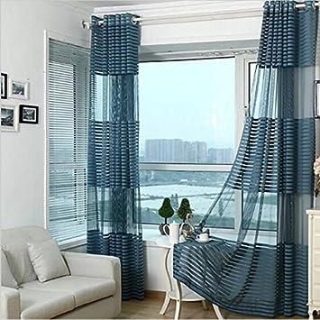 Blau Kreuz Streifen Vorhang Voile Wohnzimmer Schlafzimmer Vorhänge, Gardinen  Fenster Behandlung Drapes Home Decor Ausschnitt