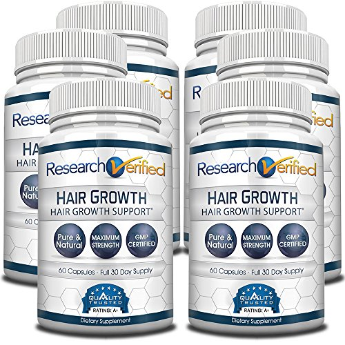 Research Verified Hair Growth Support - with Biotin, DHT Blockers & Vitamins - Hair Growth and Hair Loss Prevention, 6 Bottles (6 Months Supply) by Research Verified
