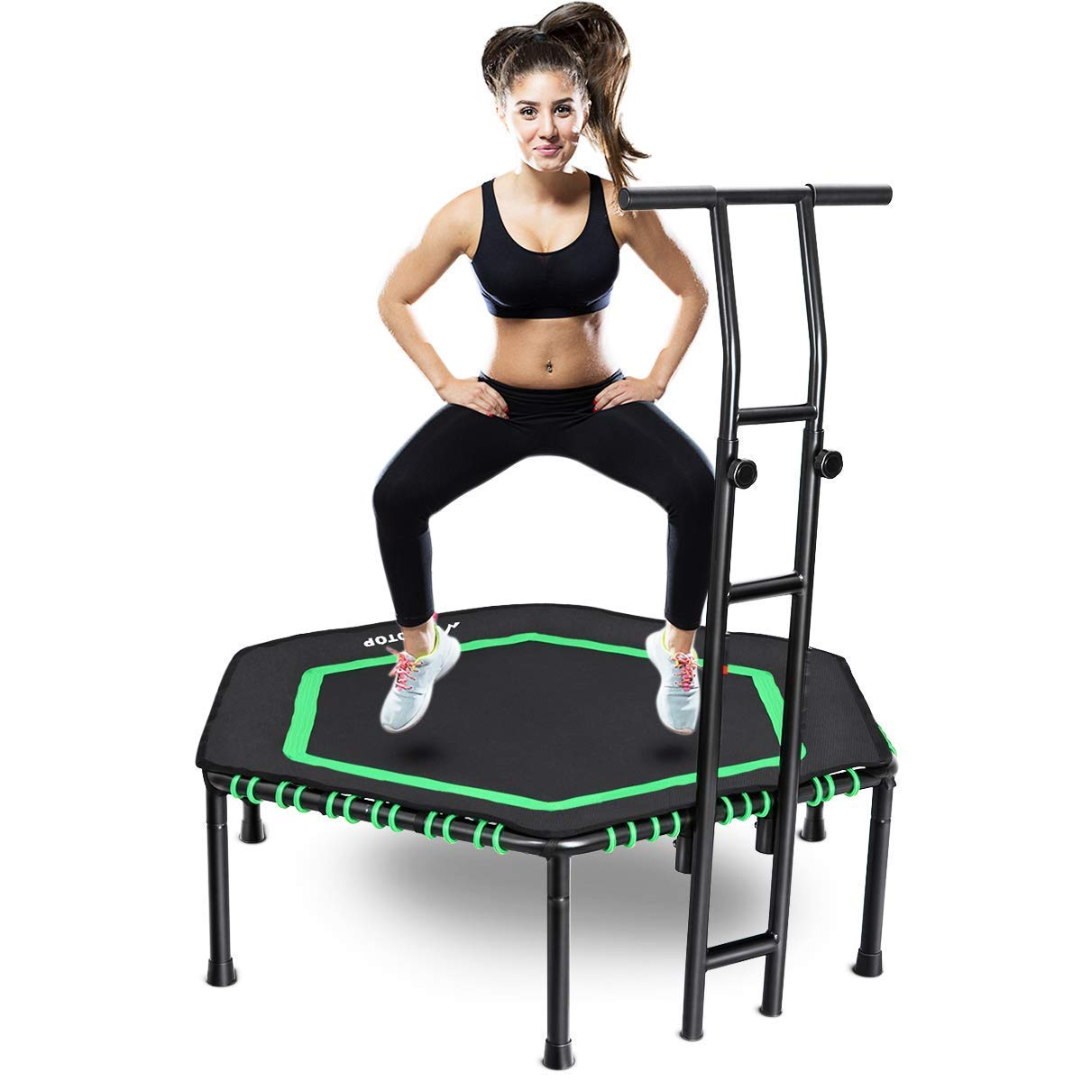 MOVTOTOP Indoor Trampoline with Adjustable Handrail Bar, 48 Inch rebounder for Kids Adults, Folding Jump Workout Trainer with Overed Bungee Rope System for Cardio Exercise - Max Limit 264 lbs (Green)