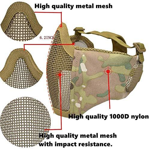BBYaki Casque de Protection Airsoft Paintball, Casques Tactiques avec Masque de Tôle d'acier CS 8 Couleurs Jungle… 5
