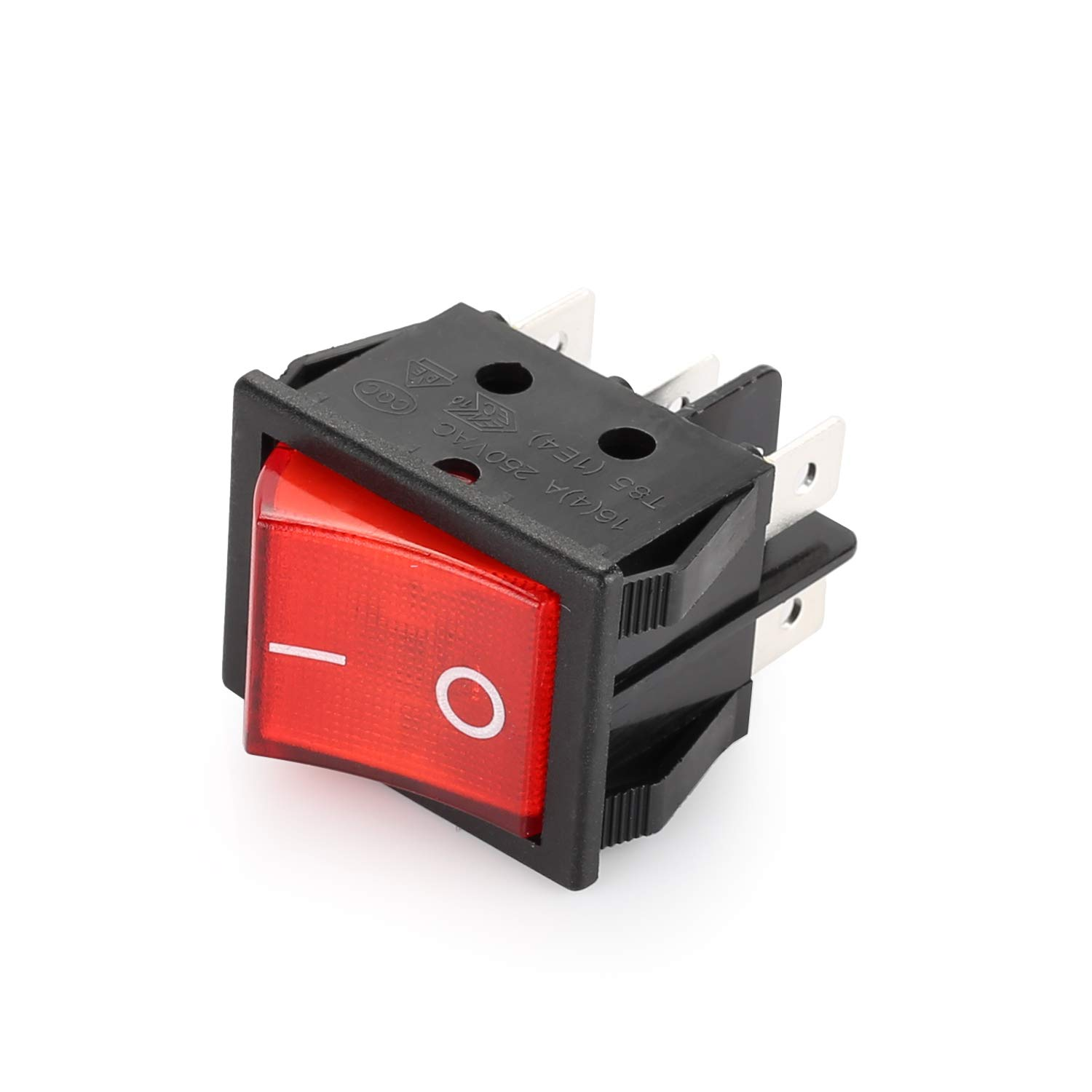DIYhz Rocker Switch Red,5 Pcs ON//Off 6 Pin Snap in Boat Rocker Switch 16A//250V Toggle Switch for Car and Motorcycle