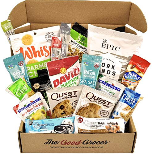 KETO Snacks Care Package (20ct): Ultra Low Carb, Ketogenic, Gluten Free, Low Sugar, Protein Bars, Crispy Cheese Bars, Crisps, Grass Fed Meat Sticks Bars, Nuts, Healthy Keto Gift Box Variety Pack