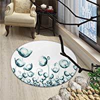 Flower Round Area Rug Carpet X-ray Picture of Poppy Flowers in a Windy Day Unusual Look into the Nature Art ImageOriental Floor and Carpets Teal White