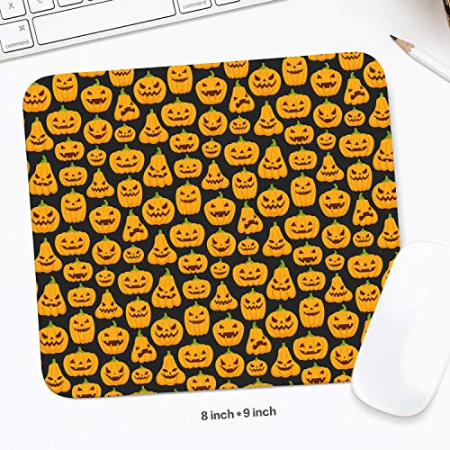 Cool Halloween Pumpkin Faces Mouse Pad Natural Rubber Excellent Cloth Mousepad Stable No Slip Easy to Clean Office Home Computer Laptop Textured Rectangle Gaming 200X225 MM Mouse Mat