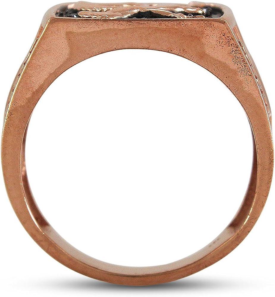 TVS-JEWELS Prong Set Black Cubic Zirconia 14k Rose Gold Plated Mens Eagle Bird Design Engagement Ring