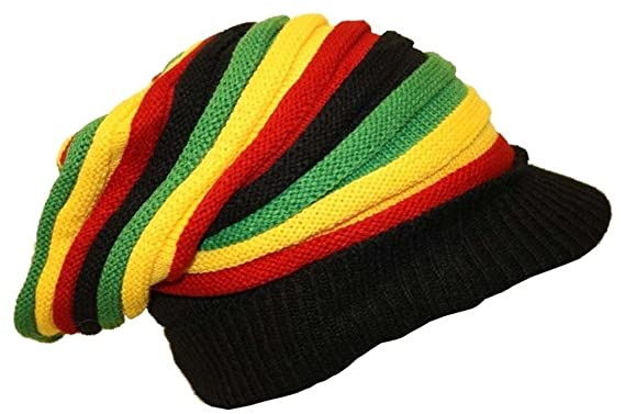 7be31e2ca41 Bob Marley Style Hat Rasta Reggae Knitted Beanie Hat Long with Peak New In  Sealed Bag Slouch Baggie Rastafarian  Amazon.co.uk  Clothing